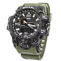 ✕Спортивные часы Smael 1545 Green наручные мужские с влагозащищенным корпусом нержавеющая сталь