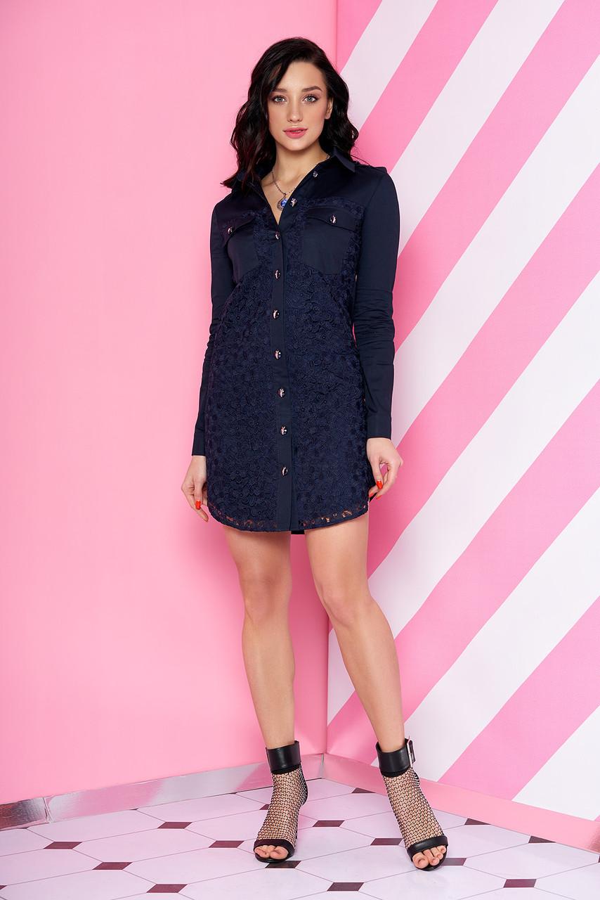 Модное платье рубашка короткое прямого кроя с длинными рукавами гипюр темно синее