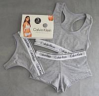 08f35c3fcf991 Женские комплект нижнего белья тройка 3в1 топик + шорты + стринги серый.  Живое фото.