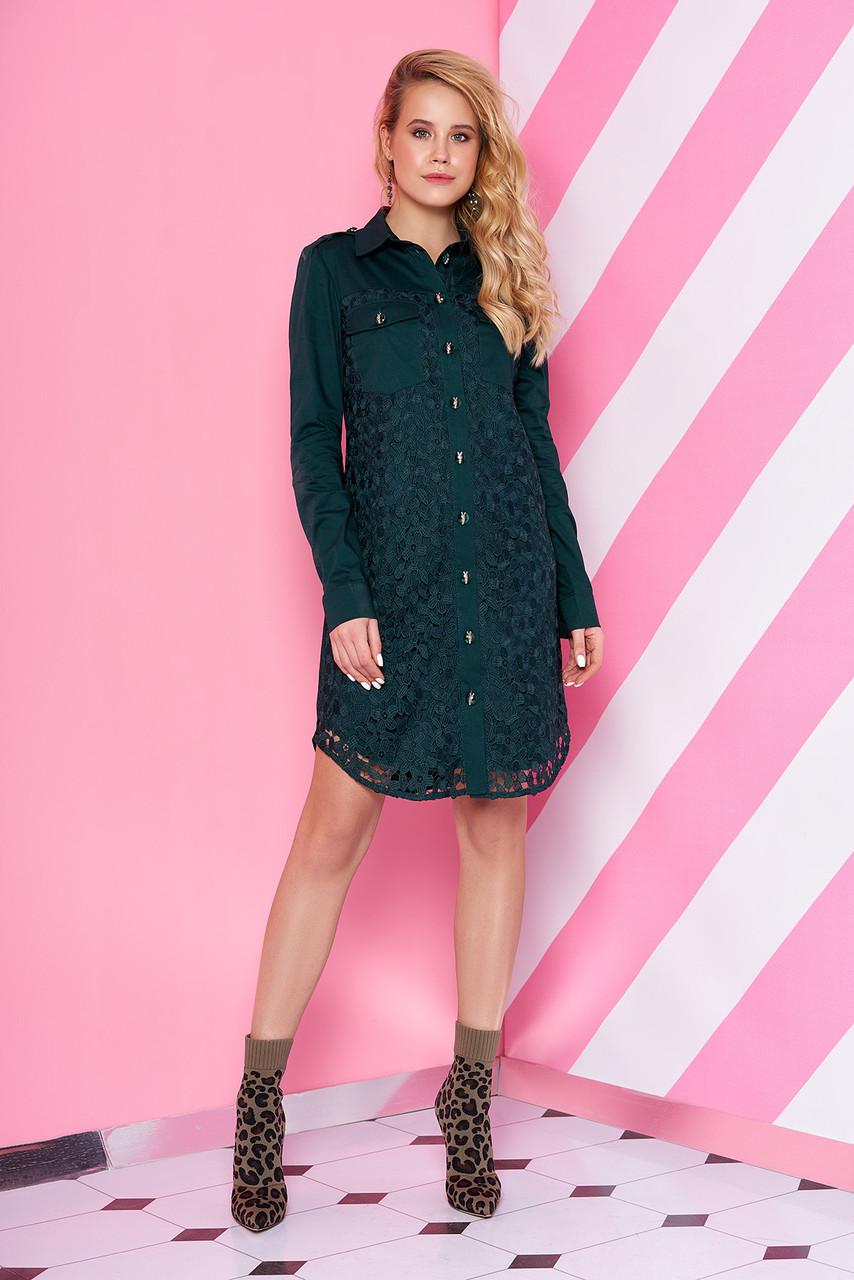 Элегантное платье рубашка короткое прямое с длинным рукавом цвет бутылка