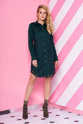Элегантное платье рубашка короткое прямое с длинным рукавом цвет бутылка, фото 2