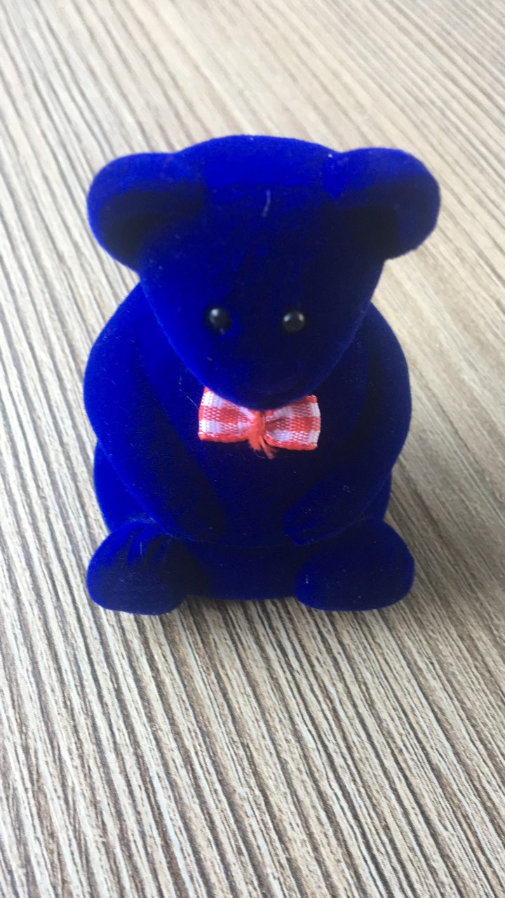 Мишка с бантом синий