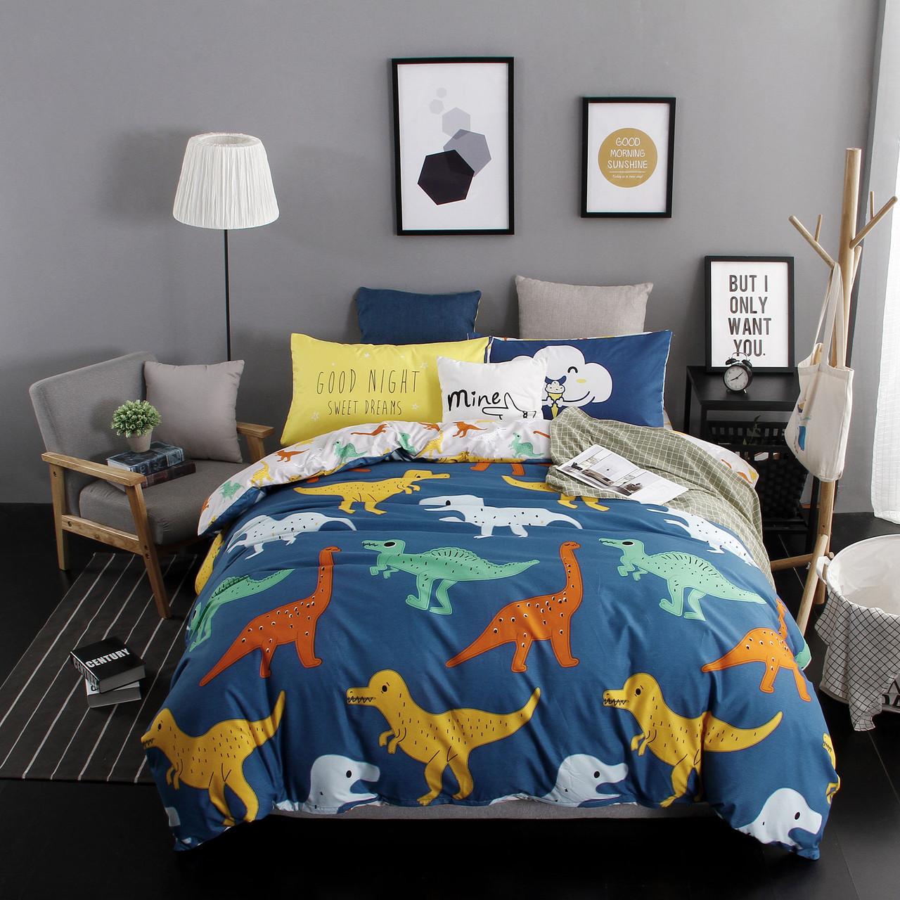 Комплект постельного белья для мальчика Динозавры (двуспальный-евро, простынь на резинке)