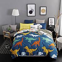 Комплект постельного белья для мальчика Динозавры (двуспальный-евро, простынь на резинке) , фото 1