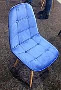 Стілець в скандинавському стилі оббивка оксамит Alex , колір синій В-1