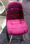 Стілець в скандинавському стилі оббивка оксамит, ніжки з бука Alex , колір бордо В-2