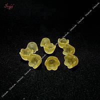 Акриловые шапочки для бусин цветок 10 мм для рукоделия цвет желтый