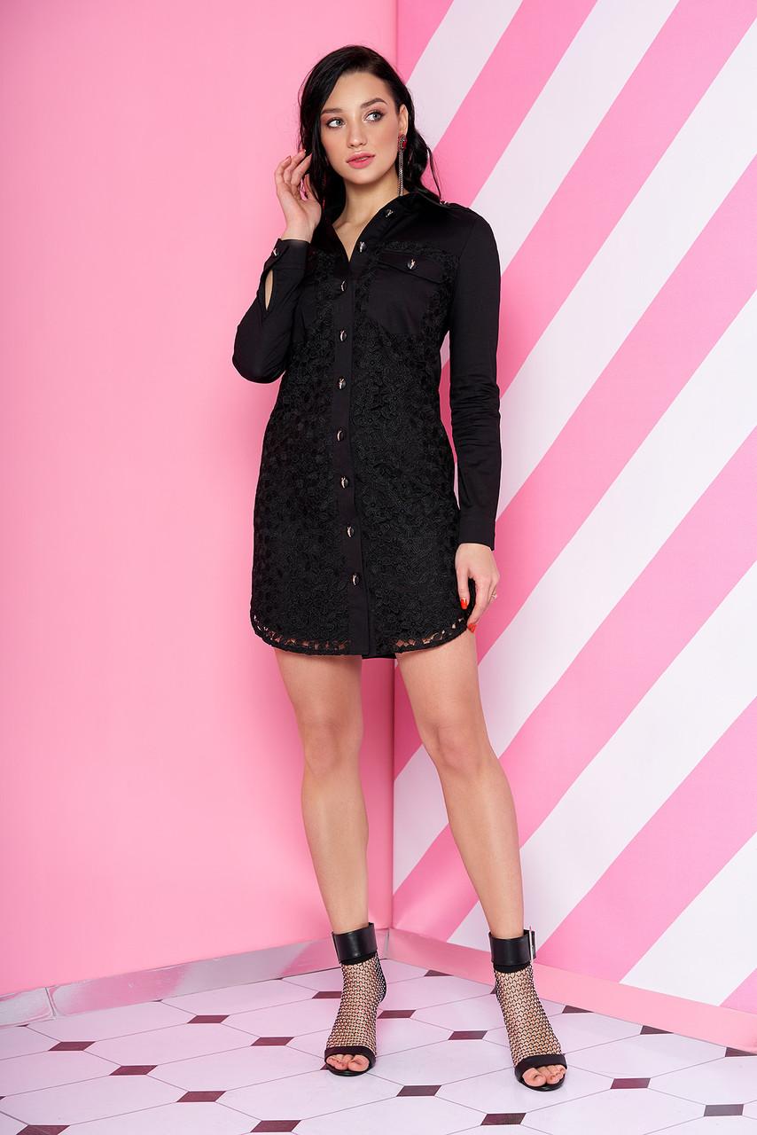 Демисезонное платье рубашка выше колен свободное с длинным рукавом черного цвета