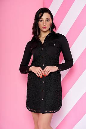 Демисезонное платье рубашка выше колен свободное с длинным рукавом черного цвета, фото 2