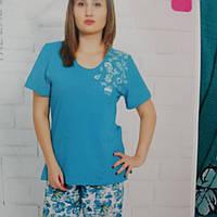 Пижама женская футболка и длинные брюки в бирюзовом цвете, большой размер 50-52, 54-56.