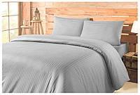 Двуспальное постельное белье бязь голд - Серая полоска