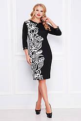 Черно-белое платье больших размеров