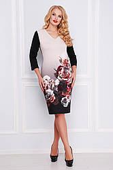 Платье с цветочным принтом больших размеров