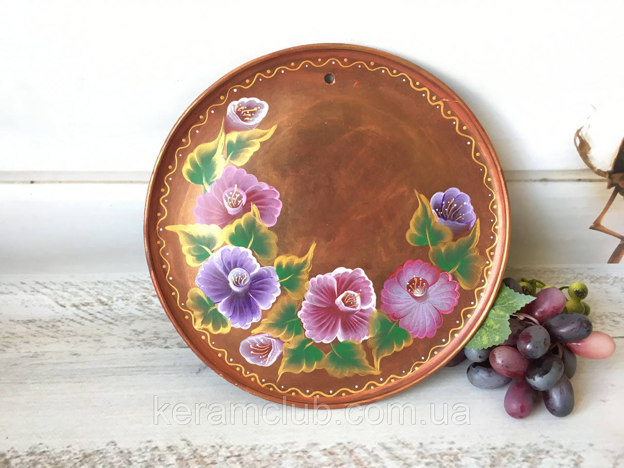 Настенное панно с ручной росписью Фиалка