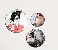 Фотокартина модульная Круглая 3 модуля Арт девушка