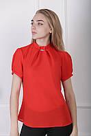 Блузка с коротким рукавом «Агата»| Красный 42, 44, 46 р-ры
