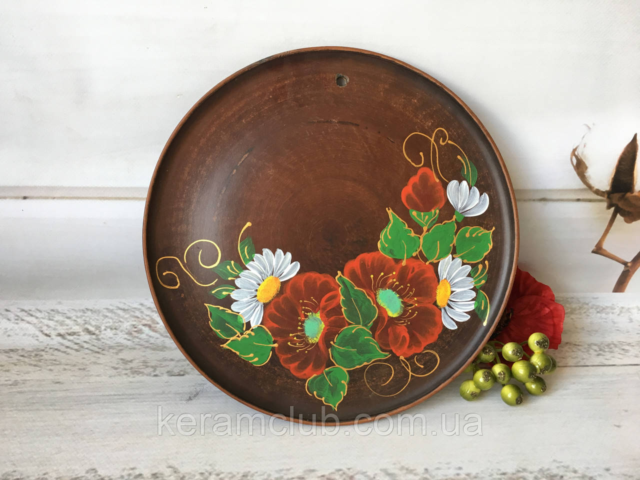 Настенное панно с ручной росписью Мак-ромашка