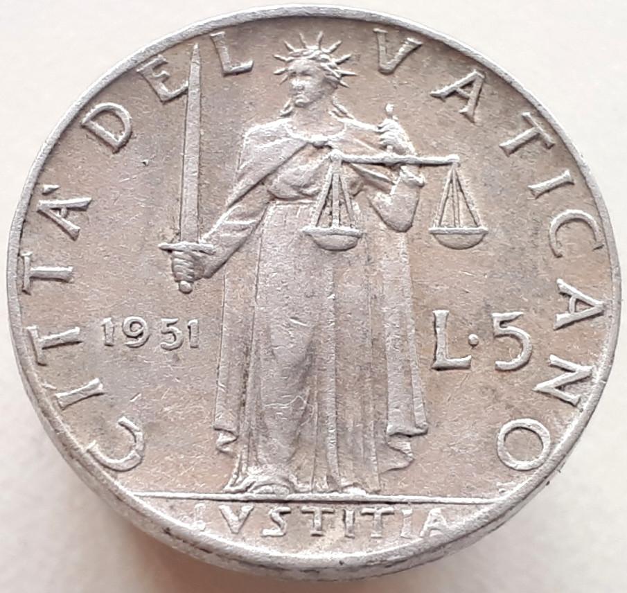 Ватикан 5 лир 1951