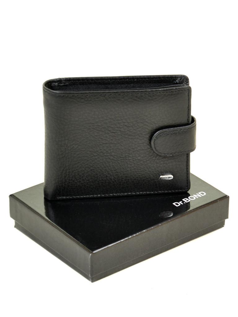 Натуральная кожаный мужской кошелек Dr.BOND М4 черный