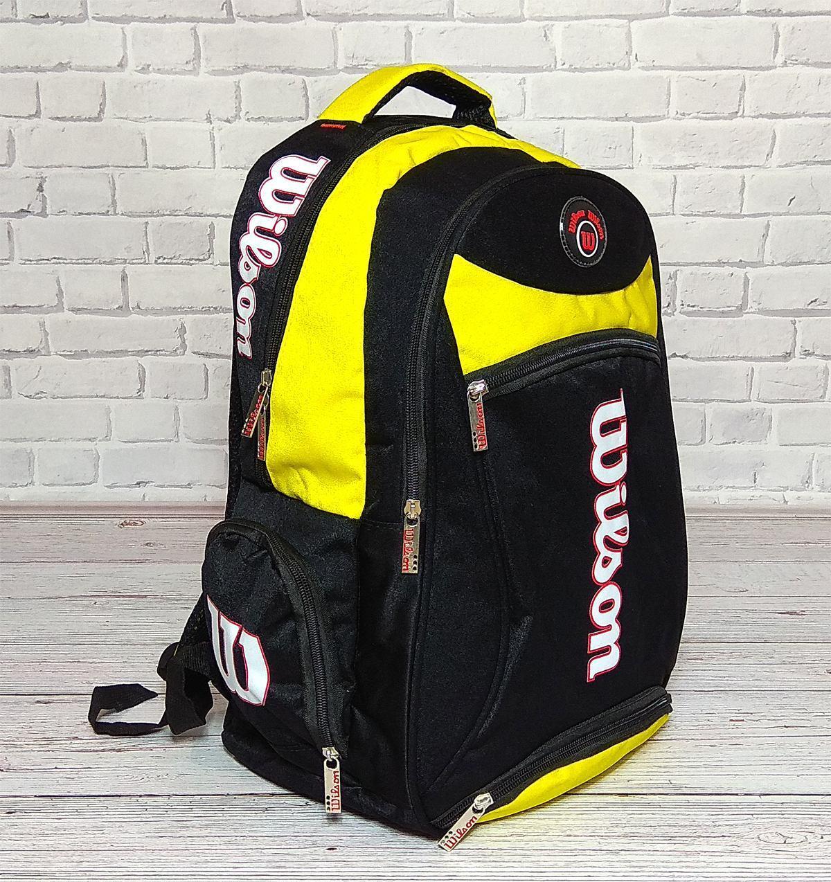 742a896f5a60 Вместительный рюкзак Wilson для школы, спорта. Черный с желтым ...