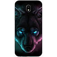 Силиконовый чехол с рисунком для Samsung Galaxy J3 2018 Волк с голубыми глазами