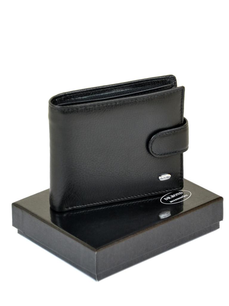 Натуральная кожаный мужской кошелек Dr.BOND М3 черный