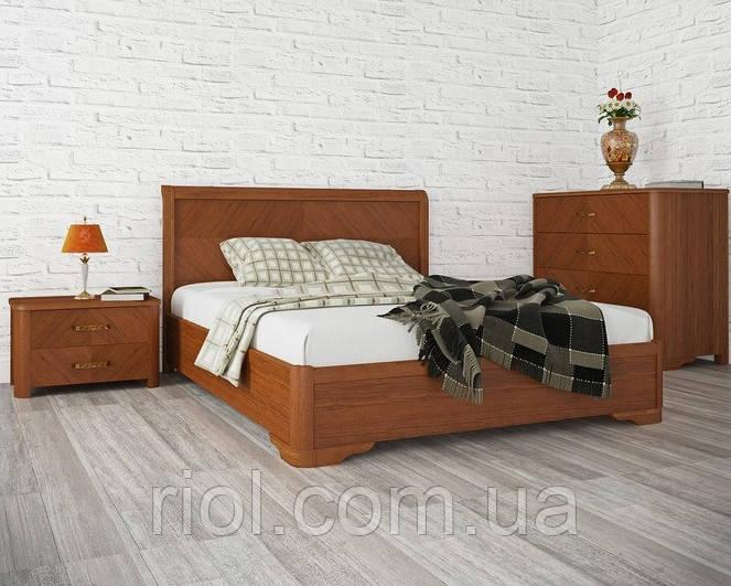 Двоспальне ліжко з бука Мілена з інтарсією з підйомним механізмом ТМ Олімп