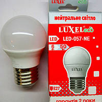 Светодиодная лампа Luxel шарик 6W E27 (аналог лампы накаливания мощностью 50 Вт)