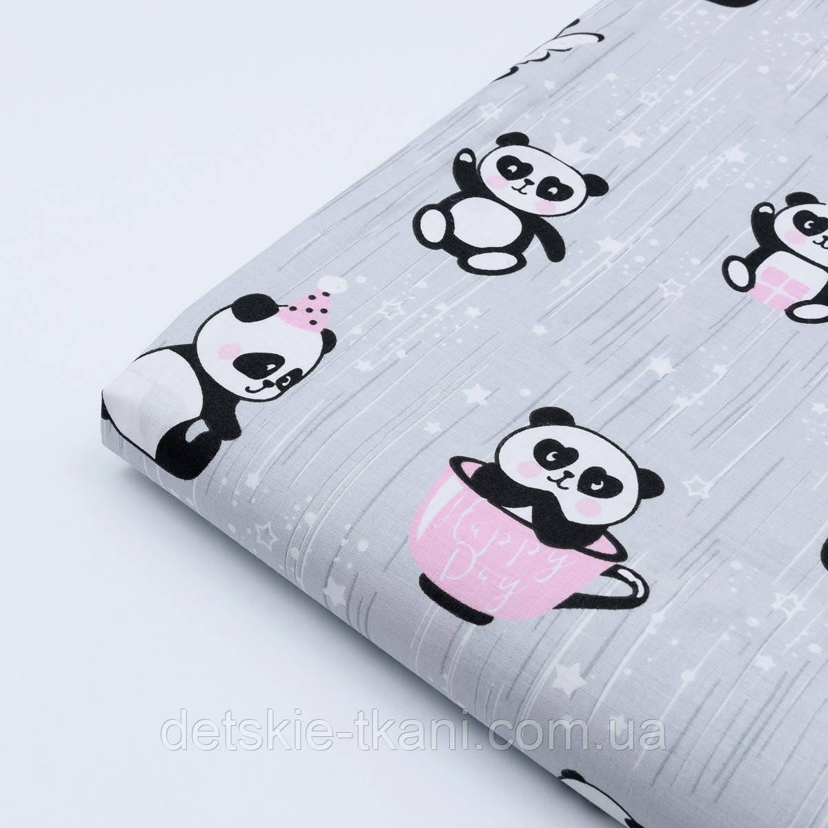 "Лоскут ткани ""Панды в чашках и звёздочки"" на серомом фоне, №1631а, разме 29*80 см"