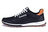 Мужские кожаные кроссовки  Reebok Classic Leather Trail  Black (реплика)