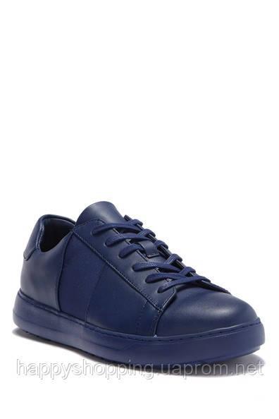 Мужские стильные кожаные темно-синие кеды Calvin Klein