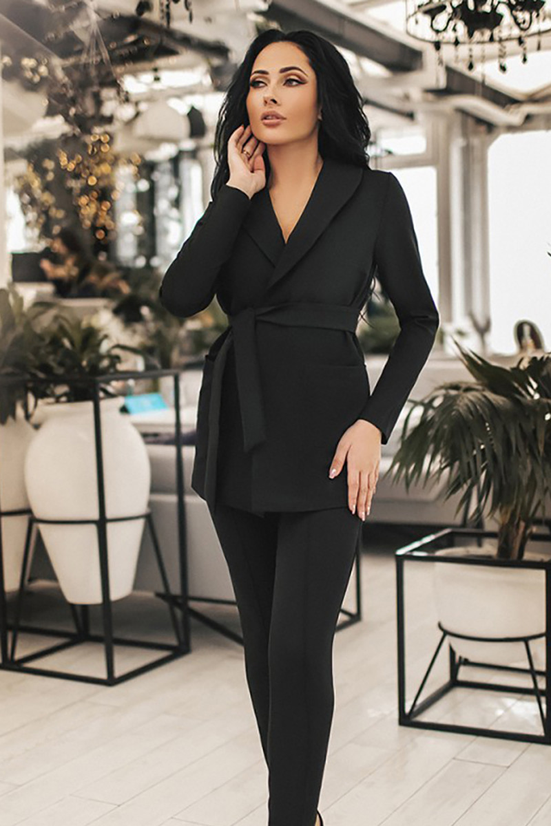 (S, M, L, XL) Класичний чорний брючний костюм Katrin