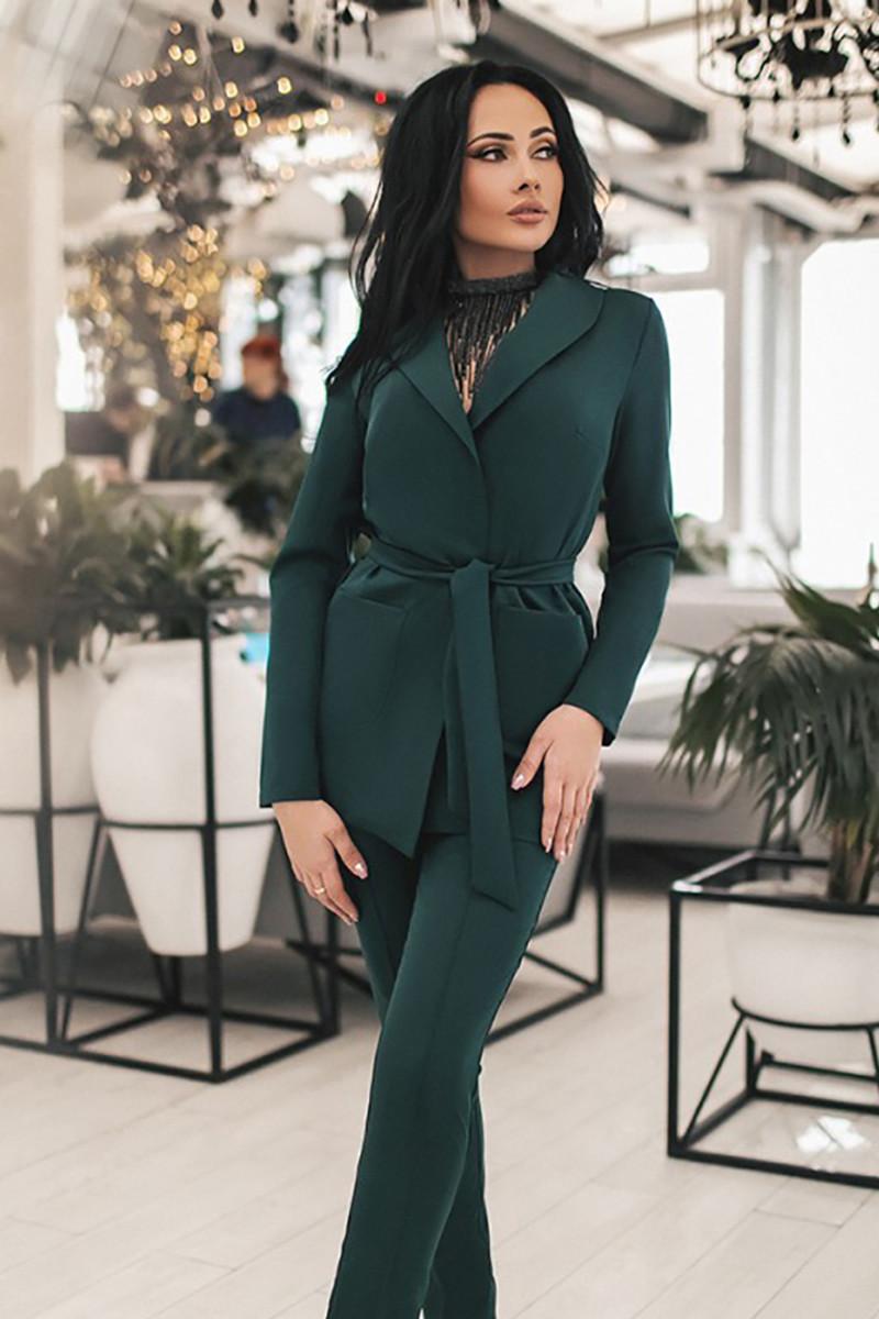 (S, M, L, XL) Класичний темно-зелений брючний костюм Katrin