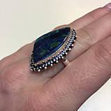 Азурит-малахит кольцо с азурит-малахитом в серебре размер 19,5 Индия, фото 5