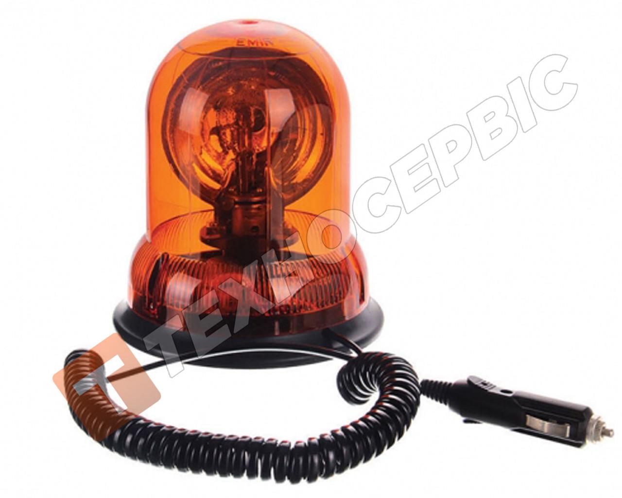 Маячок проблесковый оранжевый 12 вольт (мигалка) магнитное крепление Турция