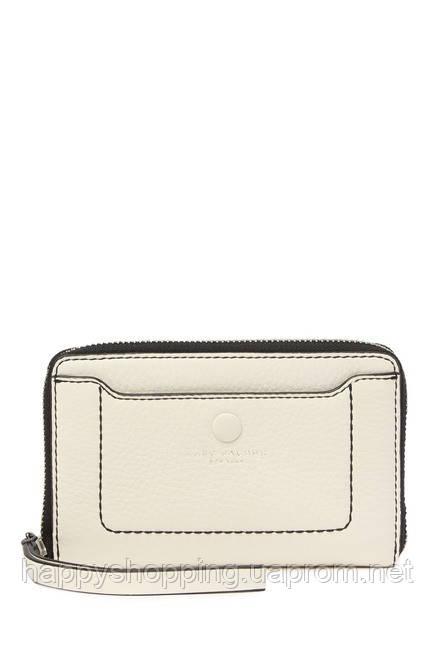 Женский оригинальный светлый кожаный кошелек клатч молочного цвета популярного бренда Marc Jacobs