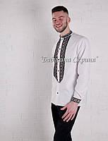 Заготівля чоловічої сорочки для вишивки нитками/бісером БС-146ч білий, домоткане полотно