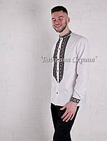 Заготовка чоловічої сорочки для вишивки нитками/бісером БС-146ч білий, домоткане полотно