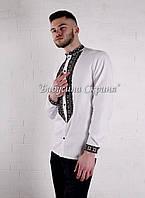 Заготівля чоловічої сорочки для вишивки нитками/бісером БС-146ч білий, атлас