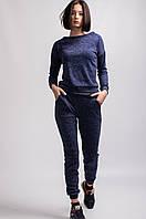 Весенний  спортивный женский костюм из ангоры синего цвета
