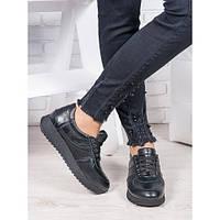 Черные кожанные женские кроссовки