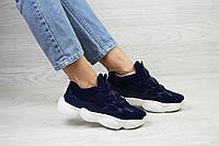 Кроссовки женские Adidas Yeezy 500 в стиле Адидас Изи, замша, текстиль код SD1-7532. Темно-синие