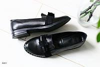 Женские кожаные туфли с бантиком