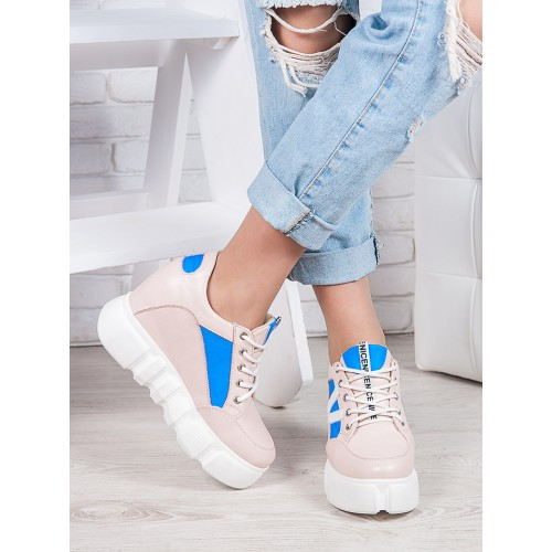 Кожанные женские кроссовки на высокой платформе