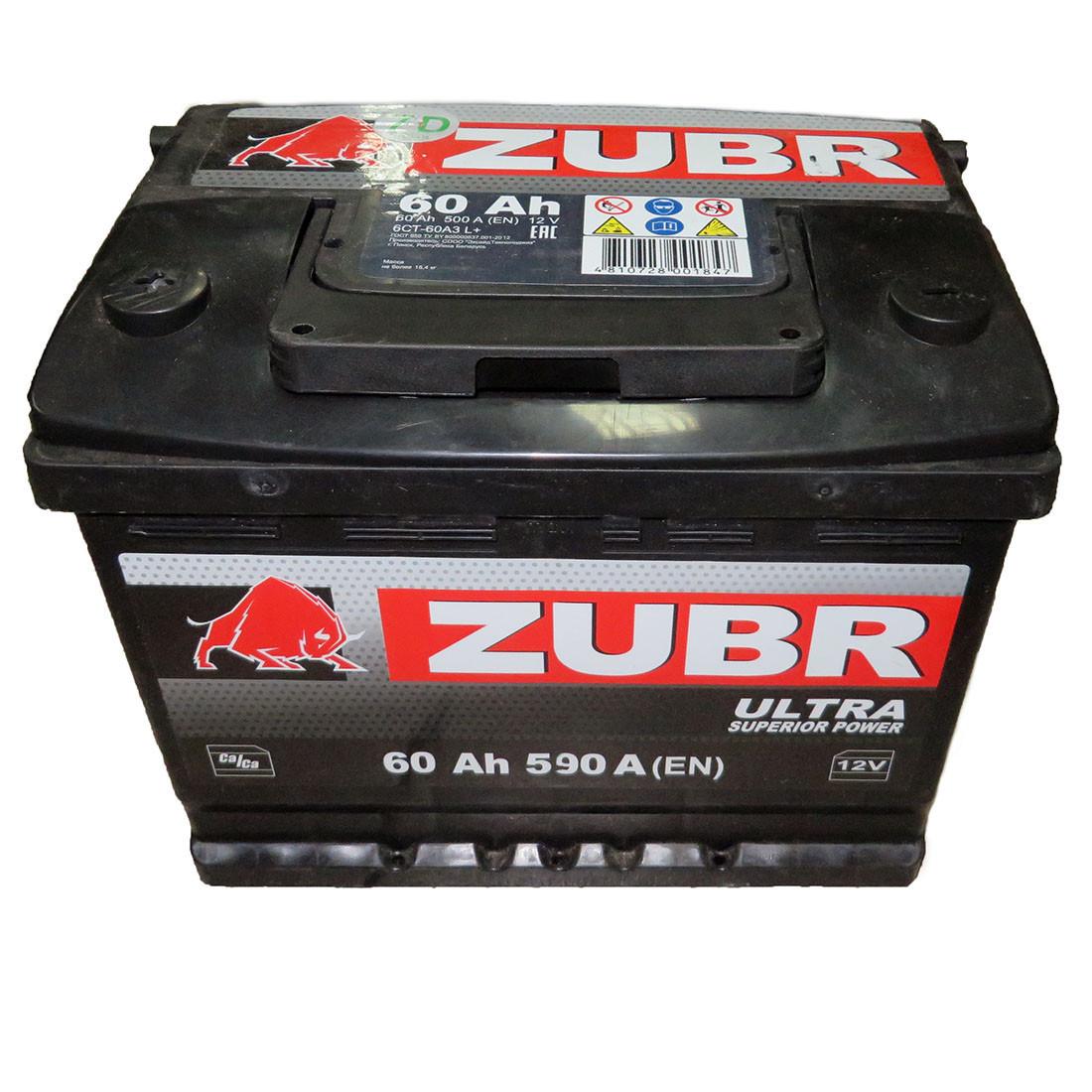 Аккумулятор ZUBR Ultra -60A +левый (590 пуск) Беларусь
