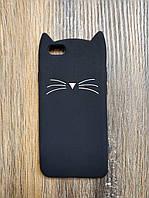 Объемный 3d силиконовый чехол для Iphone 6 Усатый кот черный