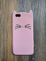 Объемный 3d силиконовый чехол для Iphone 6 Усатый кот розовый