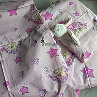 Постельный набор в детскую кроватку (3 предмета) Мишки в гамаке розовый