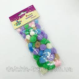Помпоны мягкие акриловые разного размера и цвета, упаковка 68 шт