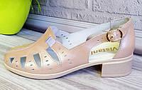 Кожаные босоножки на широком каблуке., фото 1